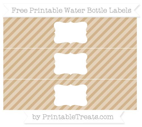 Free Tan Diagonal Striped Water Bottle Labels