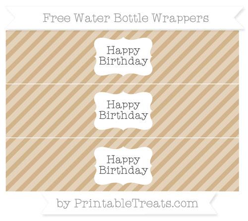 Free Tan Diagonal Striped Happy Birhtday Water Bottle Wrappers