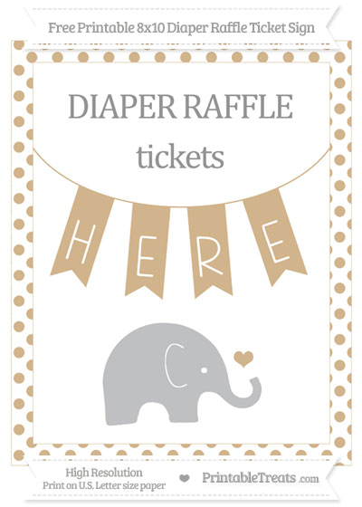 Free Tan Dotted Baby Elephant 8x10 Diaper Raffle Ticket Sign