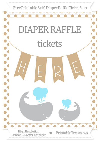 Free Tan Dotted Baby Whale 8x10 Diaper Raffle Ticket Sign