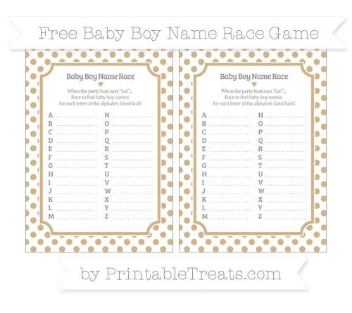 Free Tan Dotted Pattern Baby Boy Name Race Game