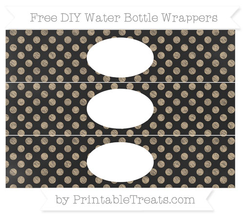 Free Tan Dotted Pattern Chalk Style DIY Water Bottle Wrappers