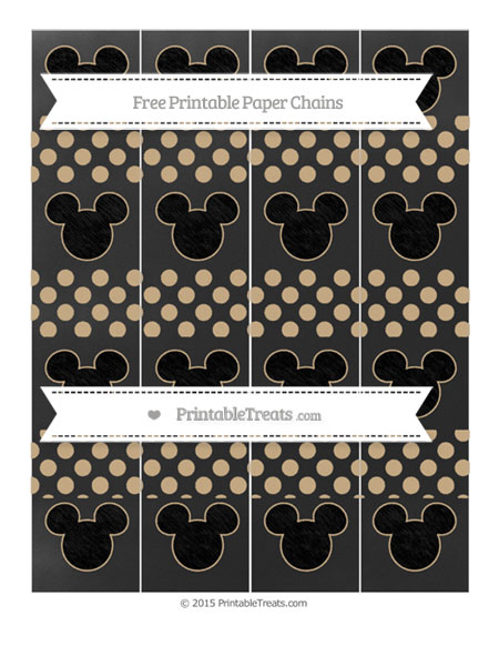 Free Tan Dotted Pattern Chalk Style Mickey Mouse Paper Chains