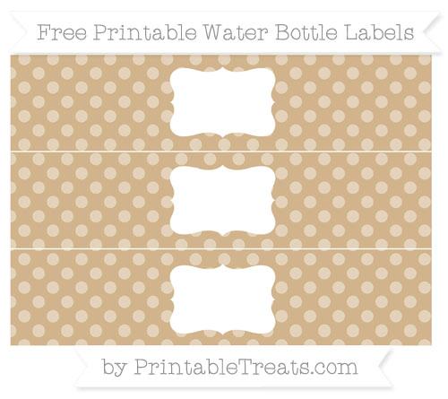 Free Tan Dotted Pattern Water Bottle Labels