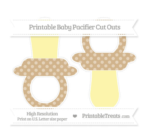 Free Tan Dotted Pattern Large Baby Pacifier Cut Outs
