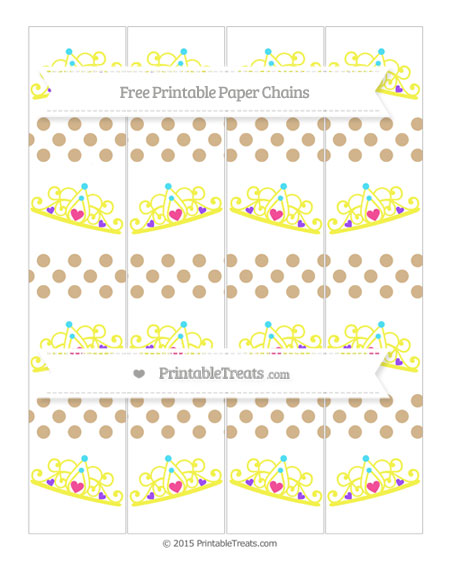 Free Tan Dotted Pattern Princess Tiara Paper Chains