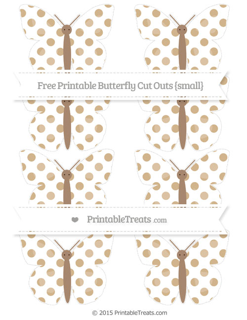 Free Tan Dotted Pattern Small Butterfly Cut Outs
