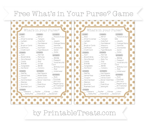 Free Tan Dotted Pattern What's in Your Purse Baby Shower Game