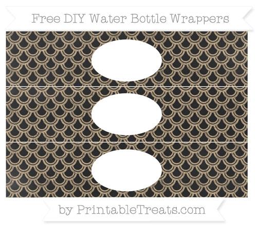 Free Tan Fish Scale Pattern Chalk Style DIY Water Bottle Wrappers