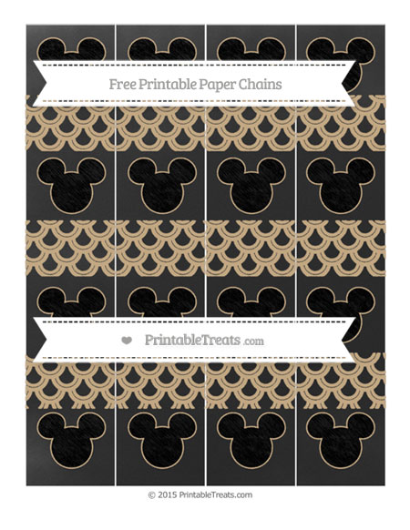 Free Tan Fish Scale Pattern Chalk Style Mickey Mouse Paper Chains