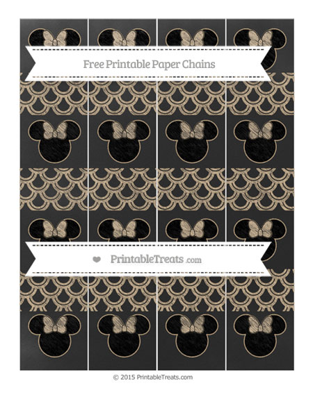 Free Tan Fish Scale Pattern Chalk Style Minnie Mouse Paper Chains