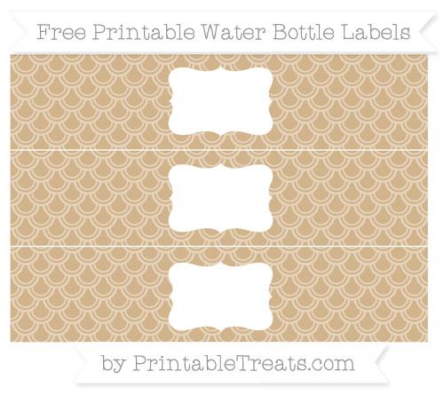 Free Tan Fish Scale Pattern Water Bottle Labels