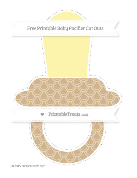 Free Tan Fish Scale Pattern Extra Large Baby Pacifier Cut Outs