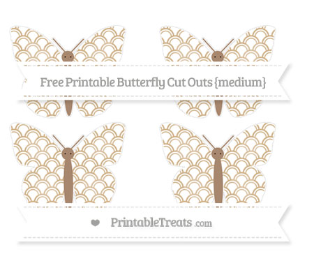 Free Tan Fish Scale Pattern Medium Butterfly Cut Outs