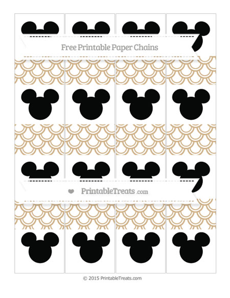 Free Tan Fish Scale Pattern Mickey Mouse Paper Chains