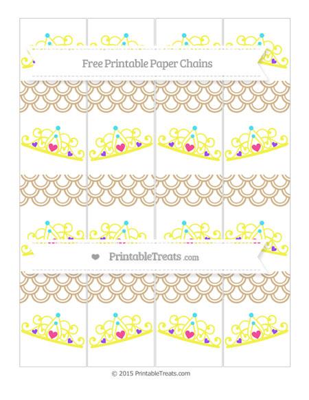 Free Tan Fish Scale Pattern Princess Tiara Paper Chains
