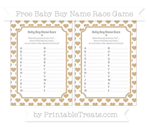 Free Tan Heart Pattern Baby Boy Name Race Game