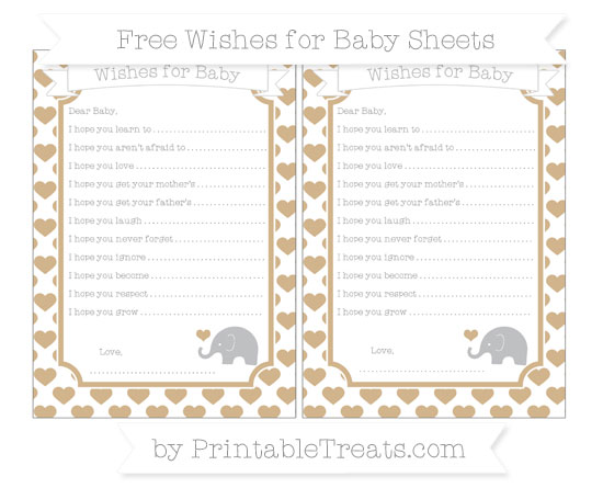 Free Tan Heart Pattern Baby Elephant Wishes for Baby Sheets
