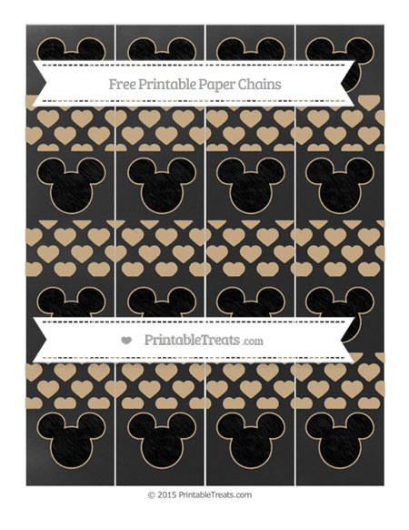Free Tan Heart Pattern Chalk Style Mickey Mouse Paper Chains