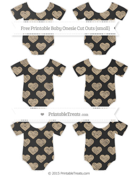Free Tan Heart Pattern Chalk Style Small Baby Onesie Cut Outs