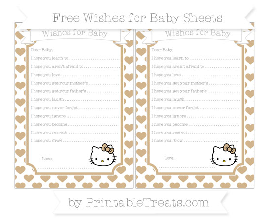 Free Tan Heart Pattern Hello Kitty Wishes for Baby Sheets