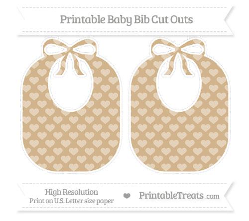Free Tan Heart Pattern Large Baby Bib Cut Outs