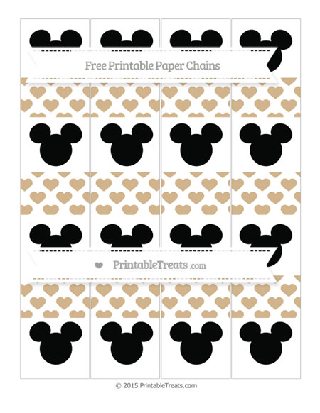Free Tan Heart Pattern Mickey Mouse Paper Chains