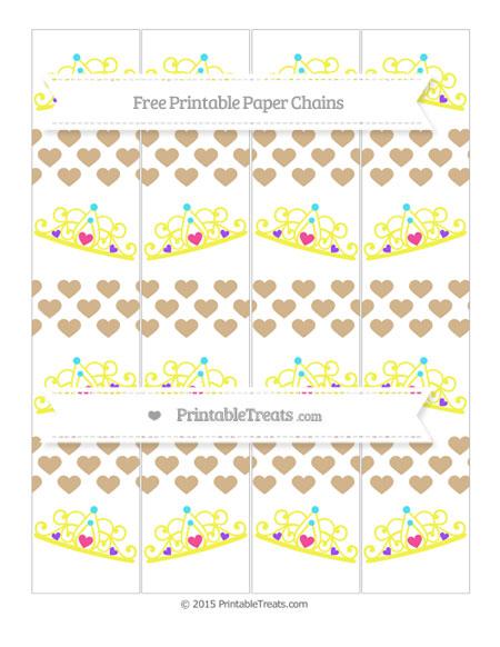 Free Tan Heart Pattern Princess Tiara Paper Chains