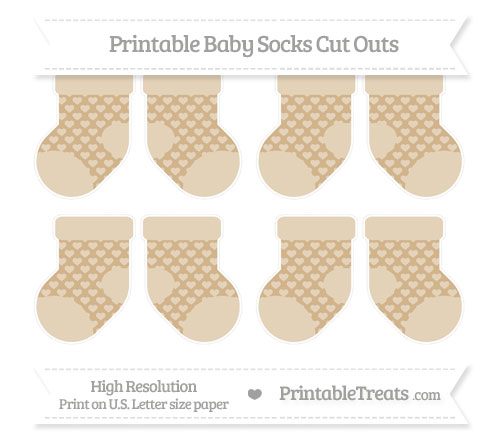 Free Tan Heart Pattern Small Baby Socks Cut Outs