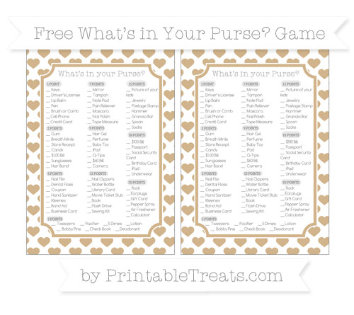 Free Tan Heart Pattern What's in Your Purse Baby Shower Game