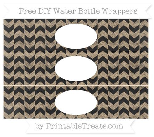 Free Tan Herringbone Pattern Chalk Style DIY Water Bottle Wrappers