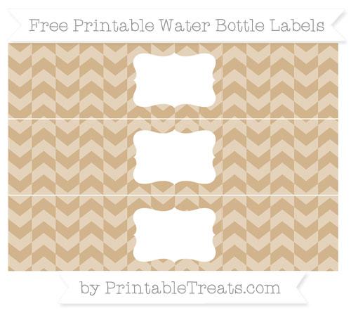 Free Tan Herringbone Pattern Water Bottle Labels