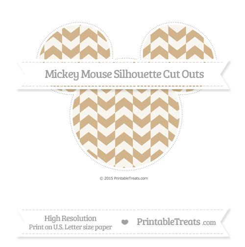 Free Tan Herringbone Pattern Extra Large Mickey Mouse Silhouette Cut Outs