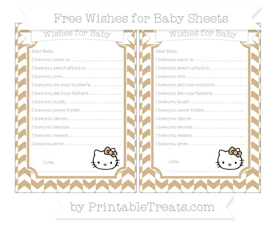 Free Tan Herringbone Pattern Hello Kitty Wishes for Baby Sheets
