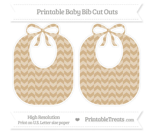 Free Tan Herringbone Pattern Large Baby Bib Cut Outs