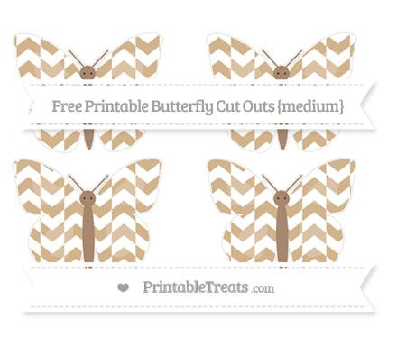 Free Tan Herringbone Pattern Medium Butterfly Cut Outs