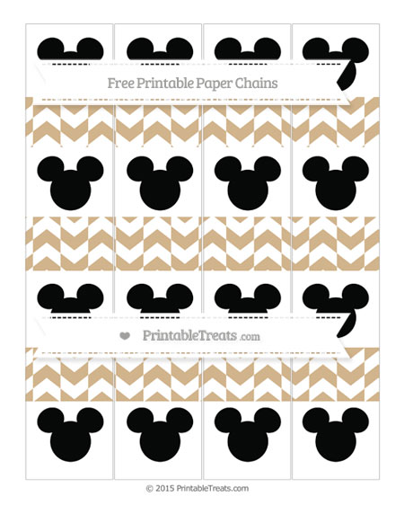 Free Tan Herringbone Pattern Mickey Mouse Paper Chains
