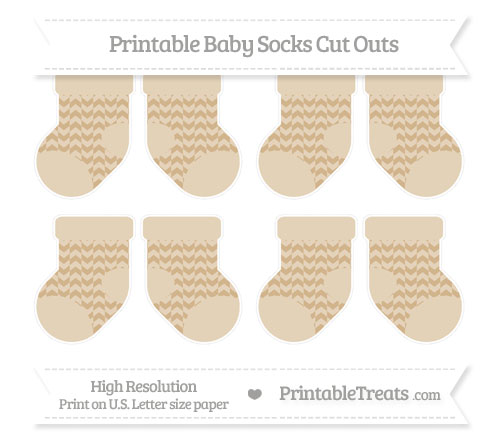 Free Tan Herringbone Pattern Small Baby Socks Cut Outs
