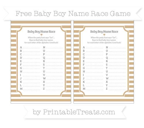 Free Tan Horizontal Striped Baby Boy Name Race Game