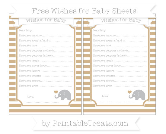 Free Tan Horizontal Striped Baby Elephant Wishes for Baby Sheets