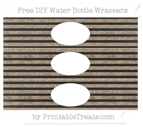 Free Tan Horizontal Striped Chalk Style DIY Water Bottle Wrappers