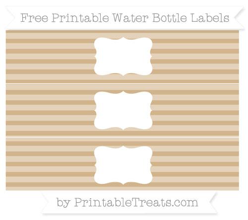 Free Tan Horizontal Striped Water Bottle Labels