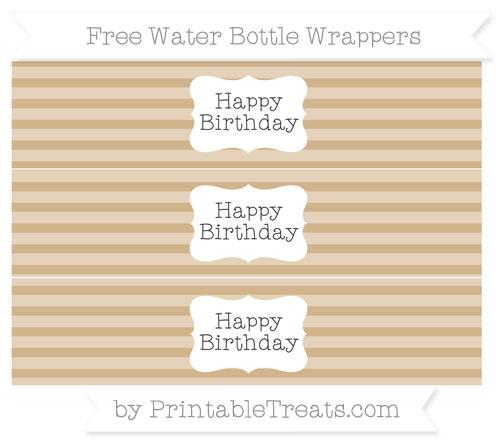 Free Tan Horizontal Striped Happy Birhtday Water Bottle Wrappers