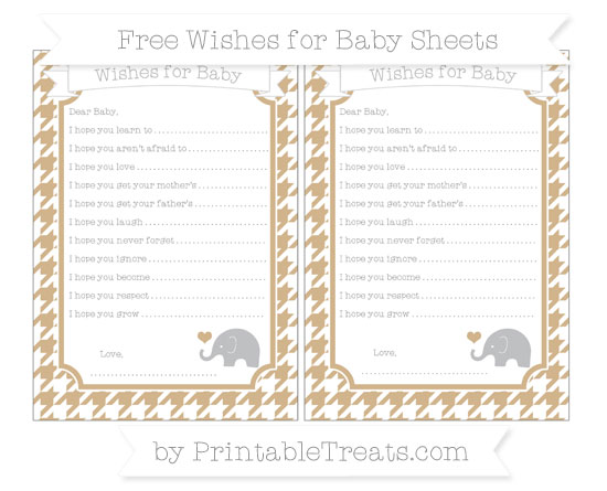 Free Tan Houndstooth Pattern Baby Elephant Wishes for Baby Sheets