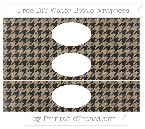 Free Tan Houndstooth Pattern Chalk Style DIY Water Bottle Wrappers