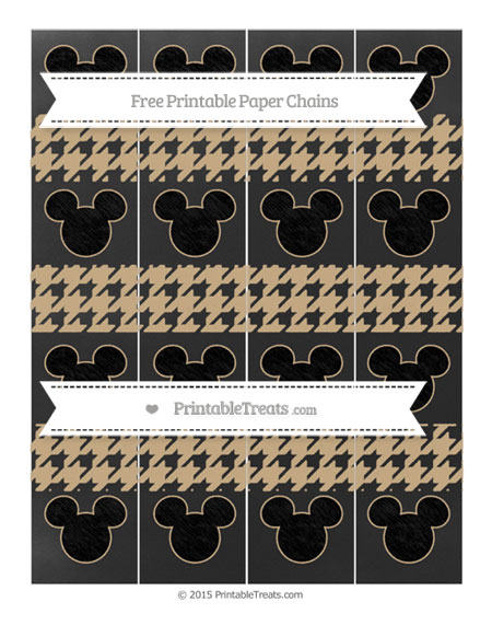Free Tan Houndstooth Pattern Chalk Style Mickey Mouse Paper Chains