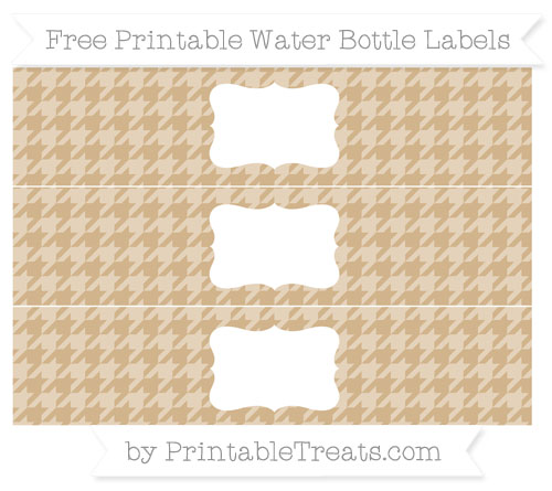 Free Tan Houndstooth Pattern Water Bottle Labels