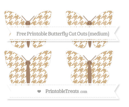 Free Tan Houndstooth Pattern Medium Butterfly Cut Outs