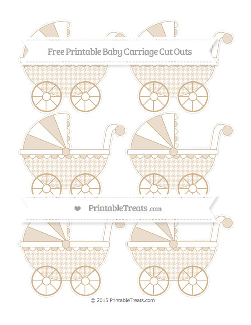 Free Tan Houndstooth Pattern Small Baby Carriage Cut Outs