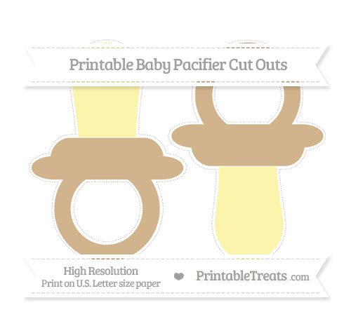 Free Tan Large Baby Pacifier Cut Outs
